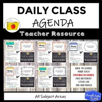 daily agenda google  template distance learning