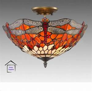 Red dragonfly tiffany style glass semi flush ceiling light