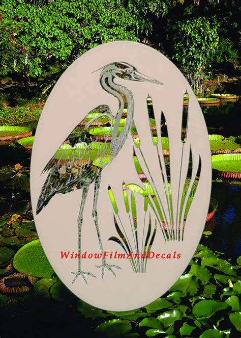 egret cattails left etched glass vinyl window decal