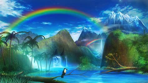 anime fantasy art colorful rainbows landscape