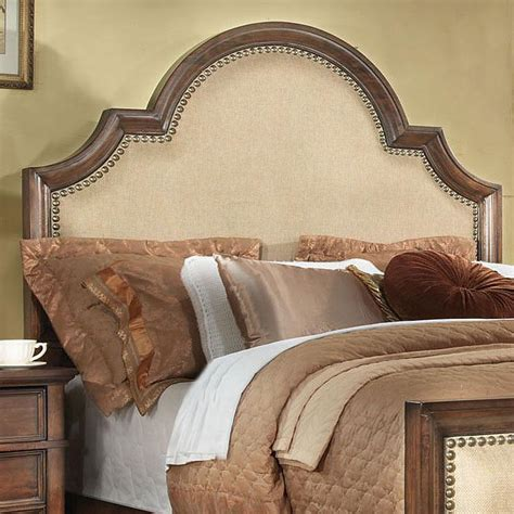 upholstered and wood headboard upholstered headboard with nailhead trim a simple way to
