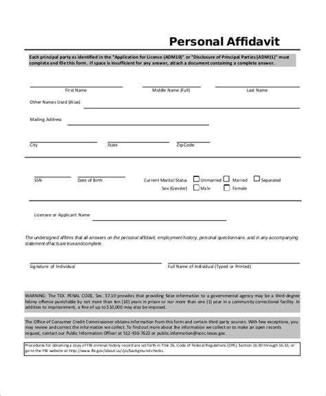 Template Of An Affidavit by 40 Brilliant Affidavit Form Sles Twihot