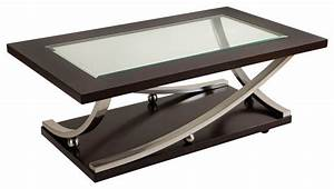 Standard furniture melrose rectangular glass top cocktail for Traditional glass top coffee table