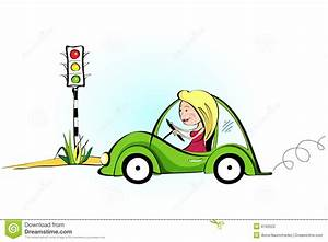 Beautiful Young Woman Driving Her Car Stock Photography