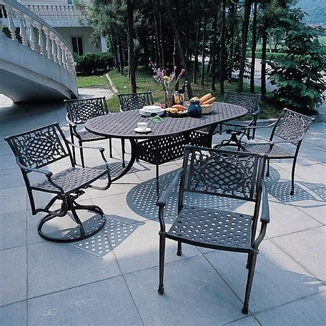 swivel patio dining set wonderful 7 patio dining set with swivel chairs