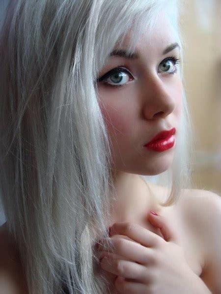 Pretty Girl With White Hair And