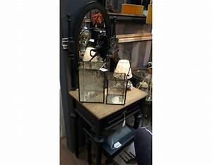 Coiffeuse Meuble Noir : coiffeuse chambre noire en bois avec miroir oval ~ Teatrodelosmanantiales.com Idées de Décoration