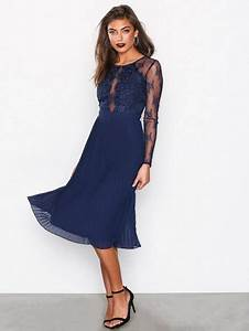 Lace Pleated Dress - Nly Eve - Navy - Party Dresses ...