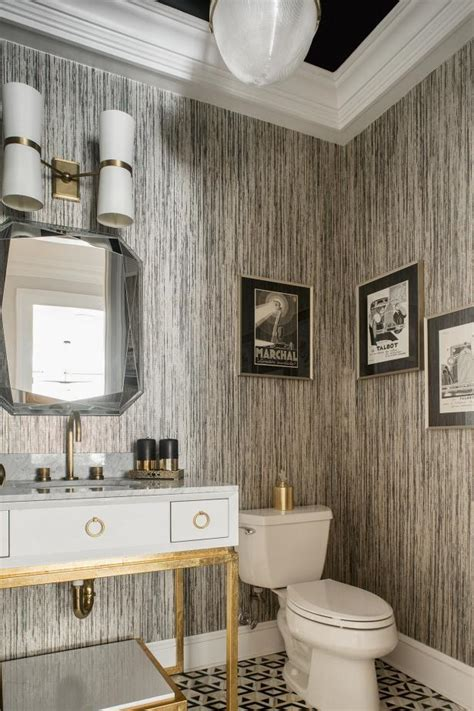 black  white art deco powder room  striped