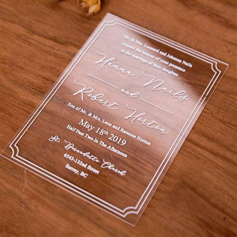 Sculptured Box UV Print Acrylic Card Acrylic invitations