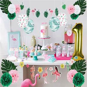 Summer, Flamingo, 1st, Birthday, Party, Decoration, Set, Tropical, Leaves, Lantern, One, Year, Gold, Foil