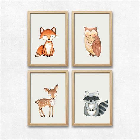 Kinderzimmer Dekoration Bilder by Wandbild Kinderzimmer Dekoration Wald Tiere 4er Set