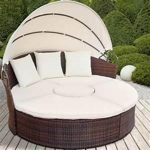 Canape Rond Exterieur : canape de jardin rond modulable marron en r sine tress e ~ Teatrodelosmanantiales.com Idées de Décoration
