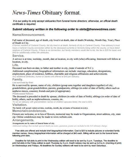 newspaper obituary templates