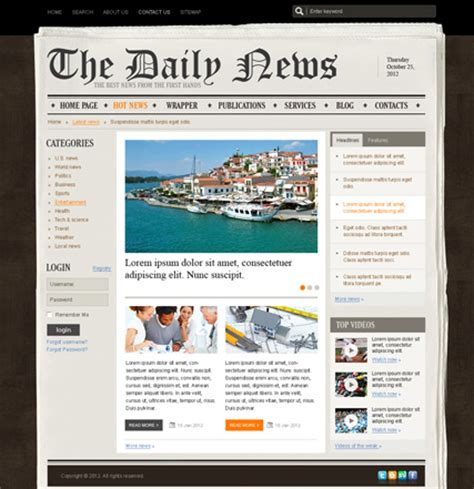 news site template free newspaper v2 5 joomla theme best website templates