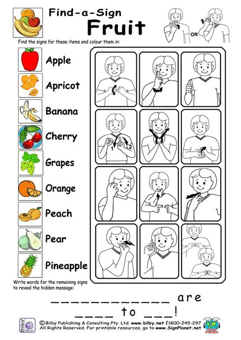 fruit words american sign language