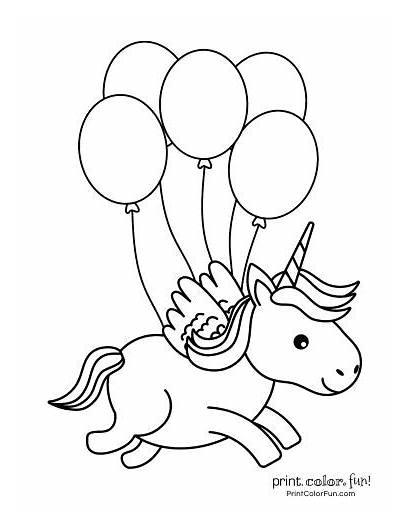 Unicorn Coloring Pages Printable Magical Balloons Happy