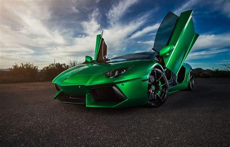 Hintergrundbilder Lamborghini Aventador Grün Autos
