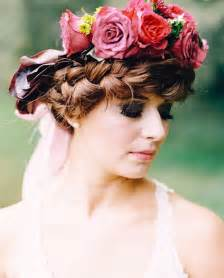 Braided Updo Red Flower Crown Wedding Hairstyle