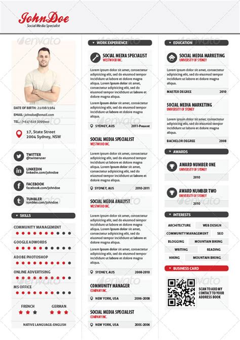 3 Column Resume Format by 20 Creative Resume Templates For Printing