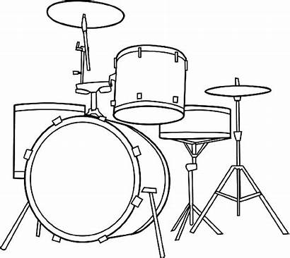 Drum Kit Coloring Drawings Instruments Musical Bass