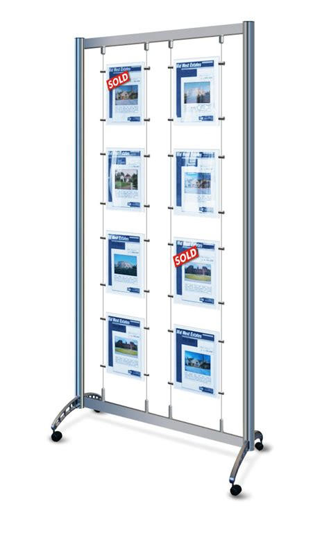 Mobile Display Stands by Mobile Cable Display Stands 8x A4 Portrait Poster Pockets