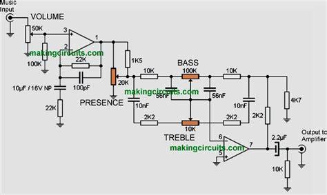 Bass Treble Presence Tone Control Circuit
