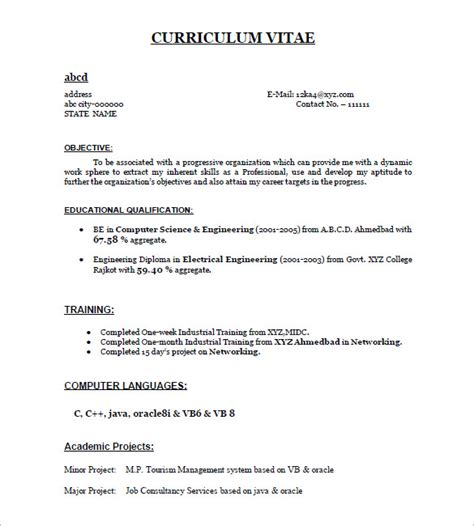 Format For Freshers Resume by 28 Resume Templates For Freshers Free Sles Exles