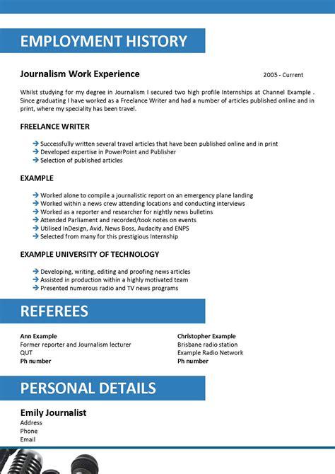 writing cv journalist newspaper resume exle journalist
