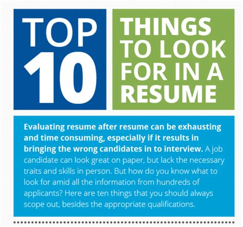 10 things not to do on a resume top 10 things to look for in a resume infographic