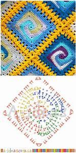 Crochet Blanket Spiral Granny Square Diagram