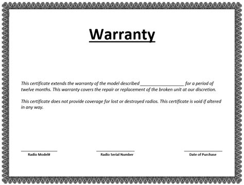 warranty repair request letter create a free template with 8 free sle warranty certificate templates printable 78213