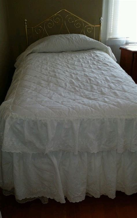 shabby chic bedding jcpenney jc penney home collection white double ruffle twin eyelet bedspread jcpenney cottage marcols