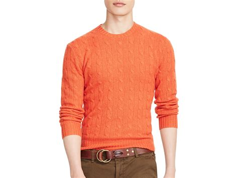 Mens Orange Cashmere Sweater