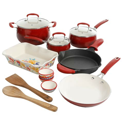 ceramic cookware pioneer woman iron cast nonstick porcelain piece belly classic skillet aluminum sunset combo enamel floral fiona amazon