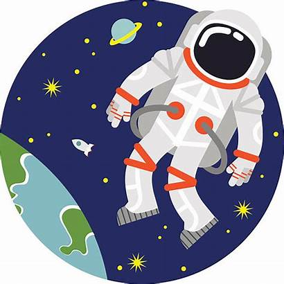Astronaut Floating Space Earth Illustration Clipart Vector