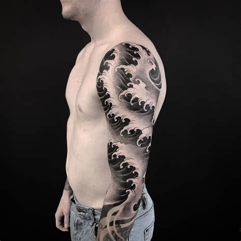 japanese waves sleeve  tattoo design ideas