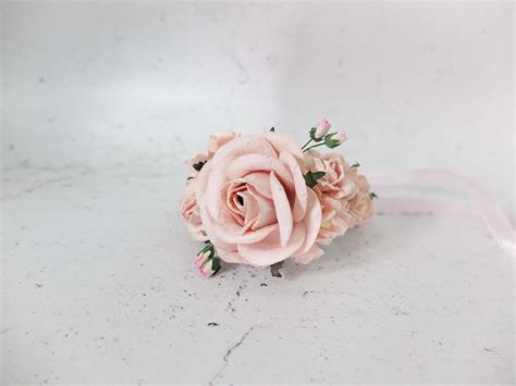 wedding flower wrist corsage blush pink bridal floral