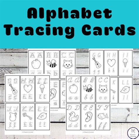 alphabet tracing cards simple living creative learning