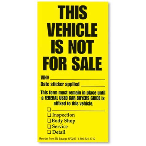 vehicle   sale disposition stickers dealer window