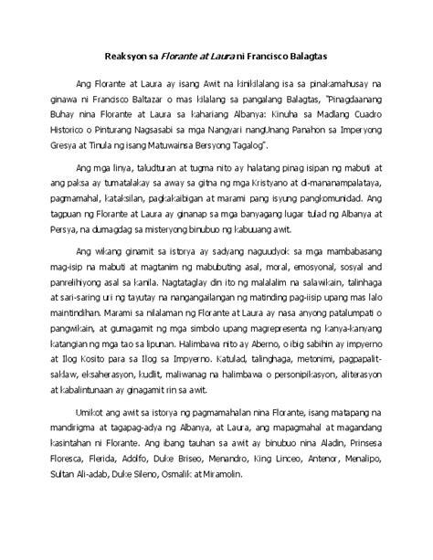 reaksyon sa florante  laura ni francisco balagtas jethro aranas academiaedu