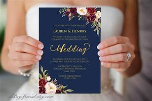 navy wedding template burgundy boho chic floral With vistaprint golden wedding invitations