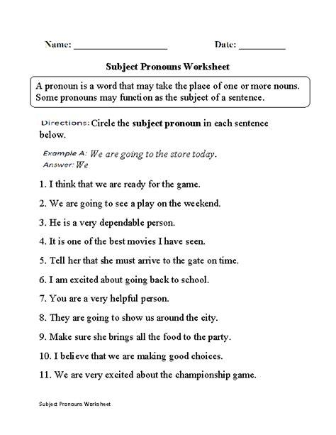 subject pronouns worksheet ideas