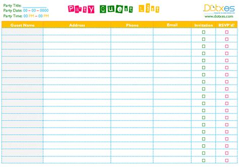 Party Guest List Template (word)