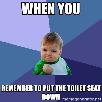 Toilet Seat Down Meme - when you remember to put the toilet seat down success kid meme generator