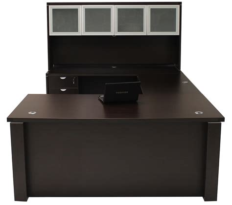 Office Desk by Adjustable Height U Shaped Executive Office Desk In Mocha