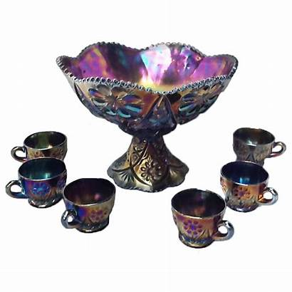 Punch Purple Imperial Bowl Glass Carnival Four