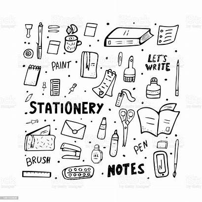 Stationery Office Supplies Doodle Coloring Composition Cartoon