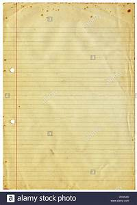 Blank lined vintage A4 paper isolated on a white ...