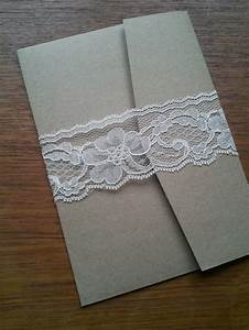 lace belly band on kraft pocket card wedding With lace belly band for wedding invitations